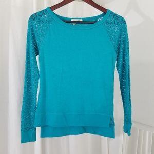 Aeropostale Blue/Turquoise Lace Sleeve Sweater